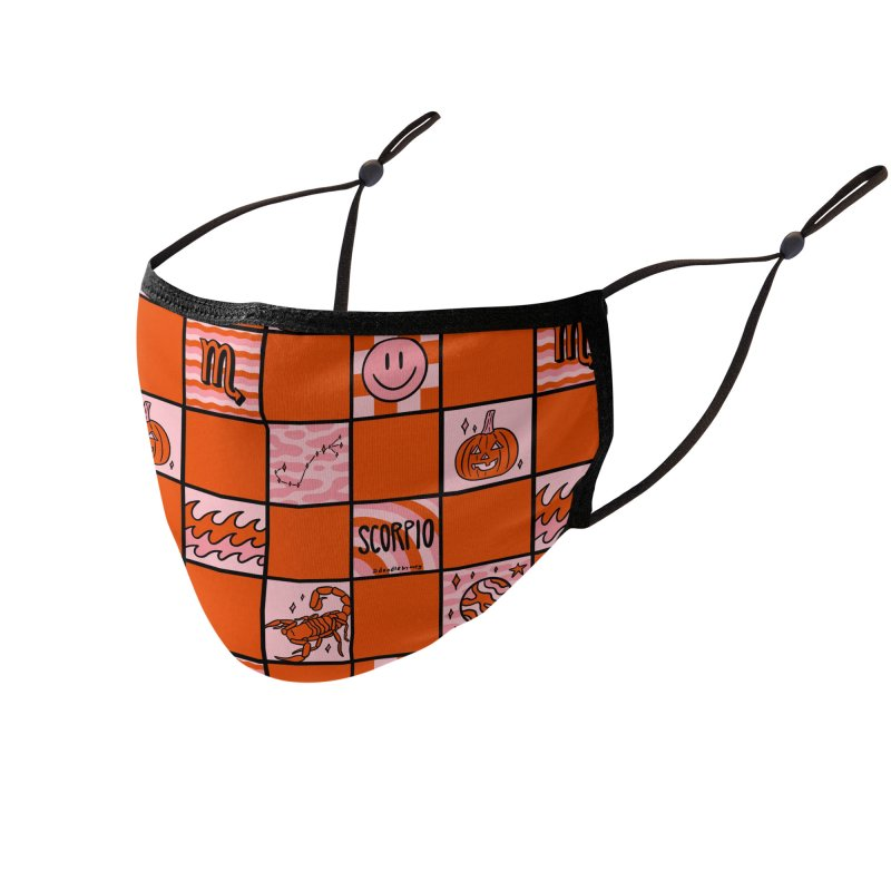 Scorpio Checkered Print Accessories Face Mask by doodlebymeg's Artist Shop