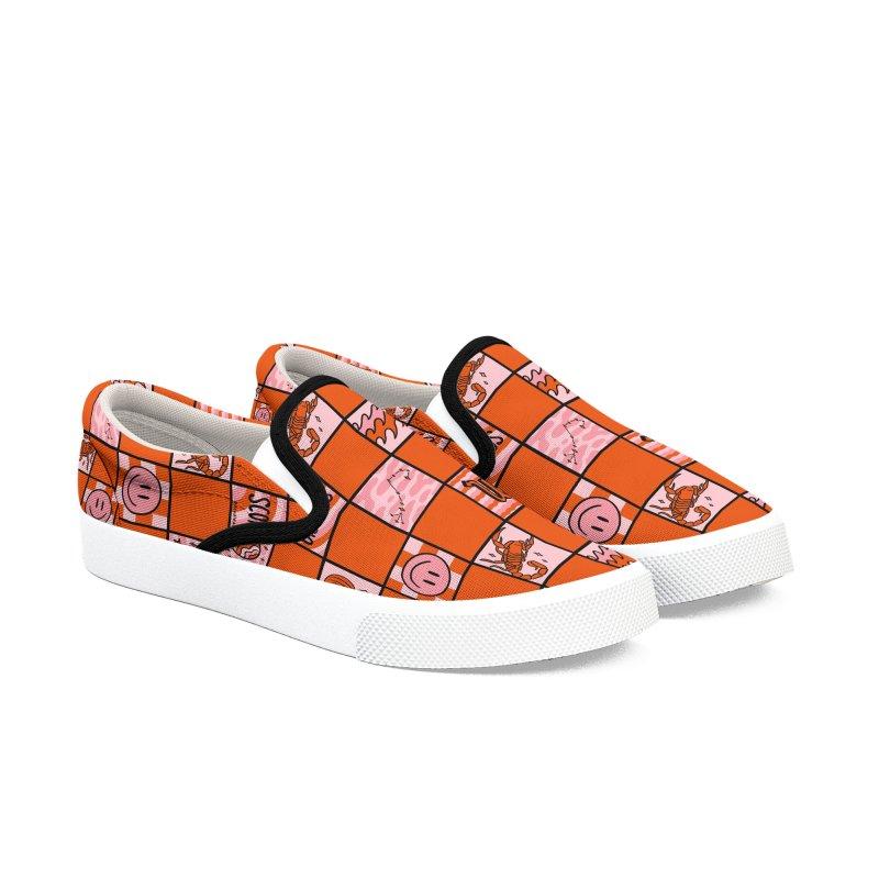 Scorpio Checkered Print Men's Shoes by doodlebymeg's Artist Shop