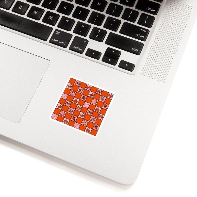 Scorpio Checkered Print Accessories Sticker by doodlebymeg's Artist Shop