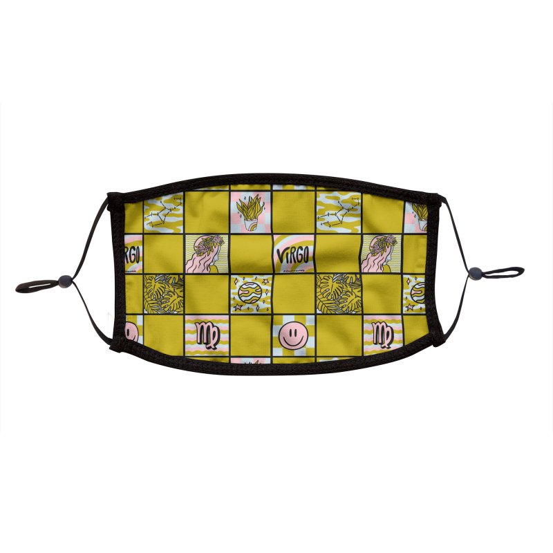 Virgo Checkered Print Accessories Face Mask by doodlebymeg's Artist Shop