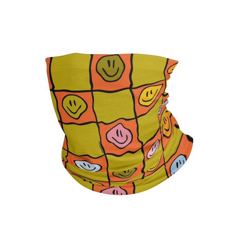 Green Smiley Checkered Print Accessories Neck Gaiter by doodlebymeg's Artist Shop