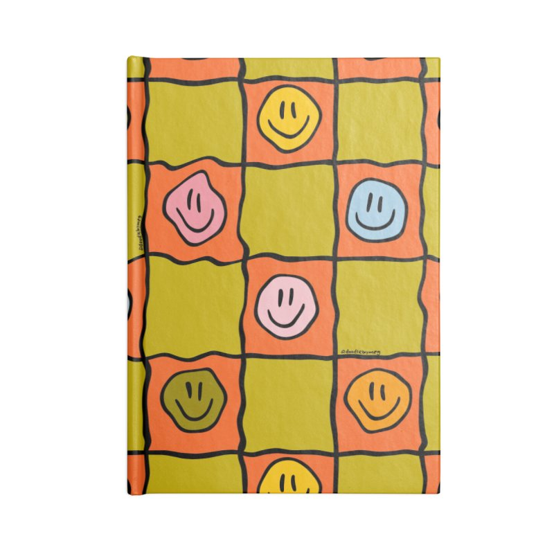 Green Smiley Checkered Print Accessories Notebook by doodlebymeg's Artist Shop