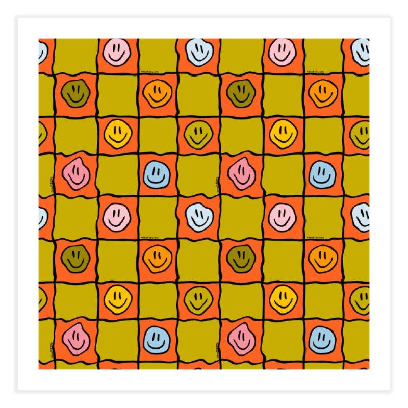 Green Smiley Checkered Print Home Fine Art Print by doodlebymeg's Artist Shop