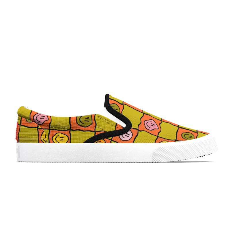 Green Smiley Checkered Print Men's Shoes by doodlebymeg's Artist Shop