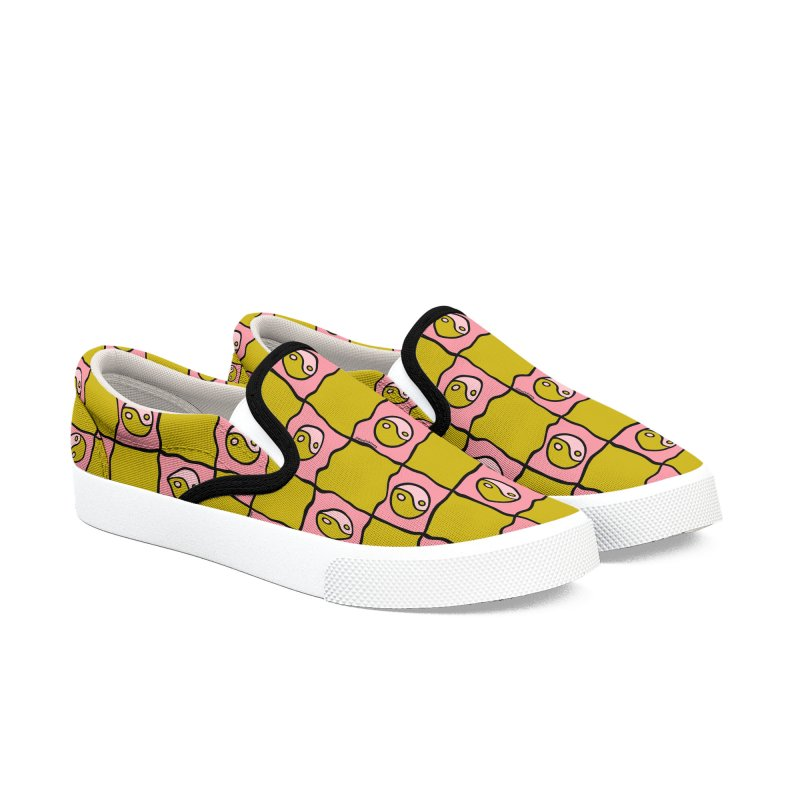 Green Ying Yang Checkered Print Men's Shoes by doodlebymeg's Artist Shop