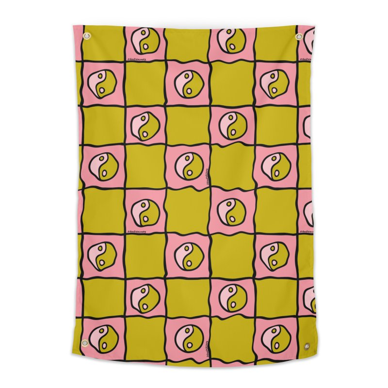 Green Ying Yang Checkered Print Home Tapestry by doodlebymeg's Artist Shop