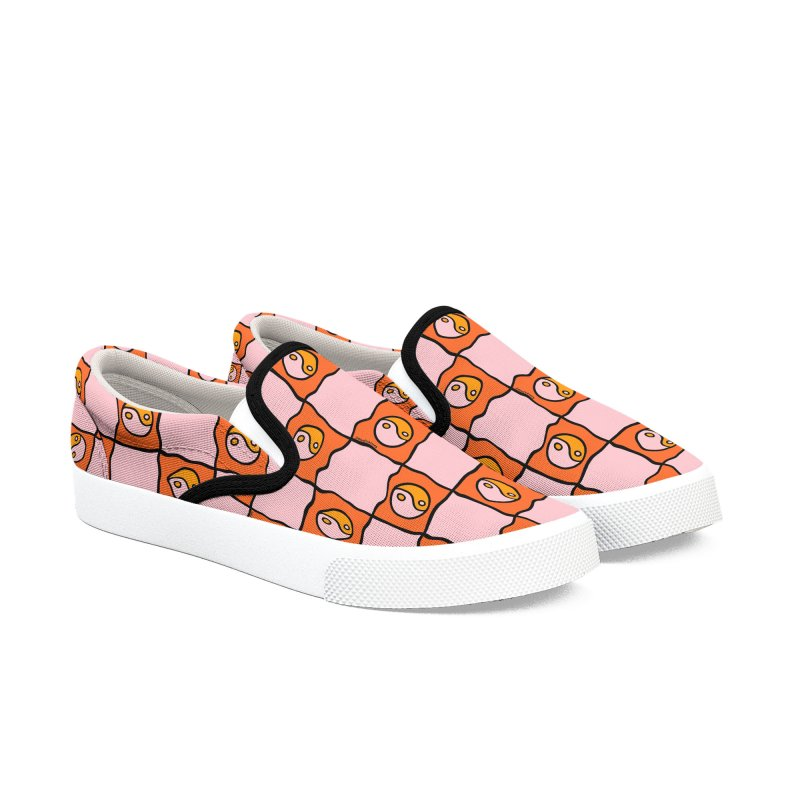 Orange Ying Yang Checkered Print Men's Shoes by doodlebymeg's Artist Shop