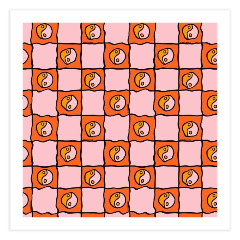 Orange Ying Yang Checkered Print Home Fine Art Print by doodlebymeg's Artist Shop