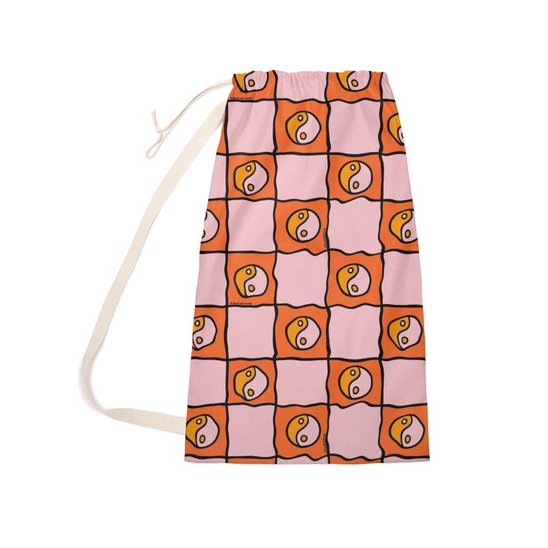 Orange Ying Yang Checkered Print Accessories Bag by doodlebymeg's Artist Shop