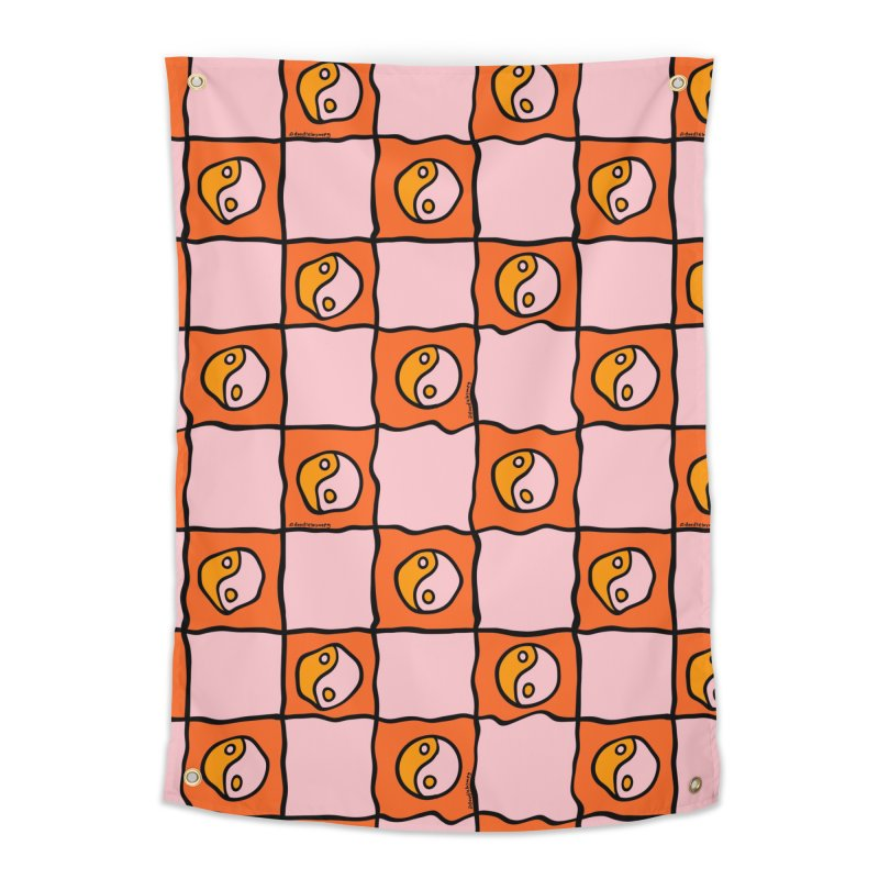 Orange Ying Yang Checkered Print Home Tapestry by doodlebymeg's Artist Shop