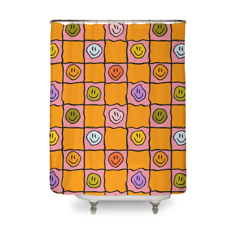 Pink Smiley Checkered Print Home Shower Curtain by doodlebymeg's Artist Shop