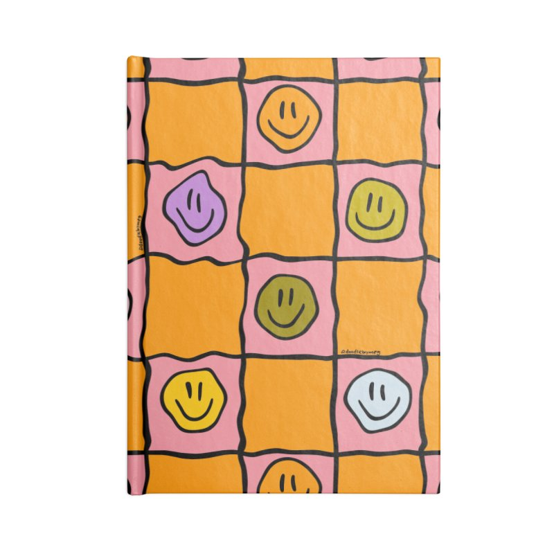 Pink Smiley Checkered Print Accessories Notebook by doodlebymeg's Artist Shop