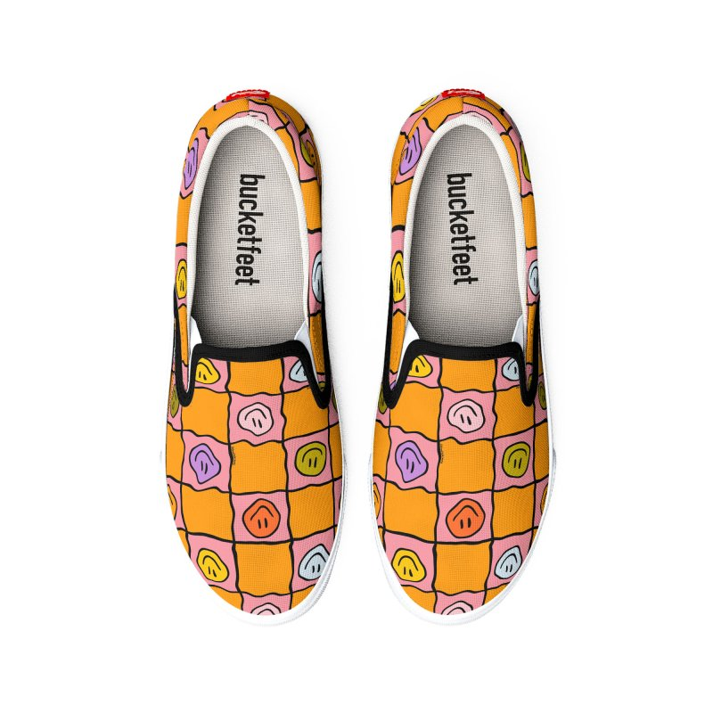 Pink Smiley Checkered Print Men's Shoes by doodlebymeg's Artist Shop