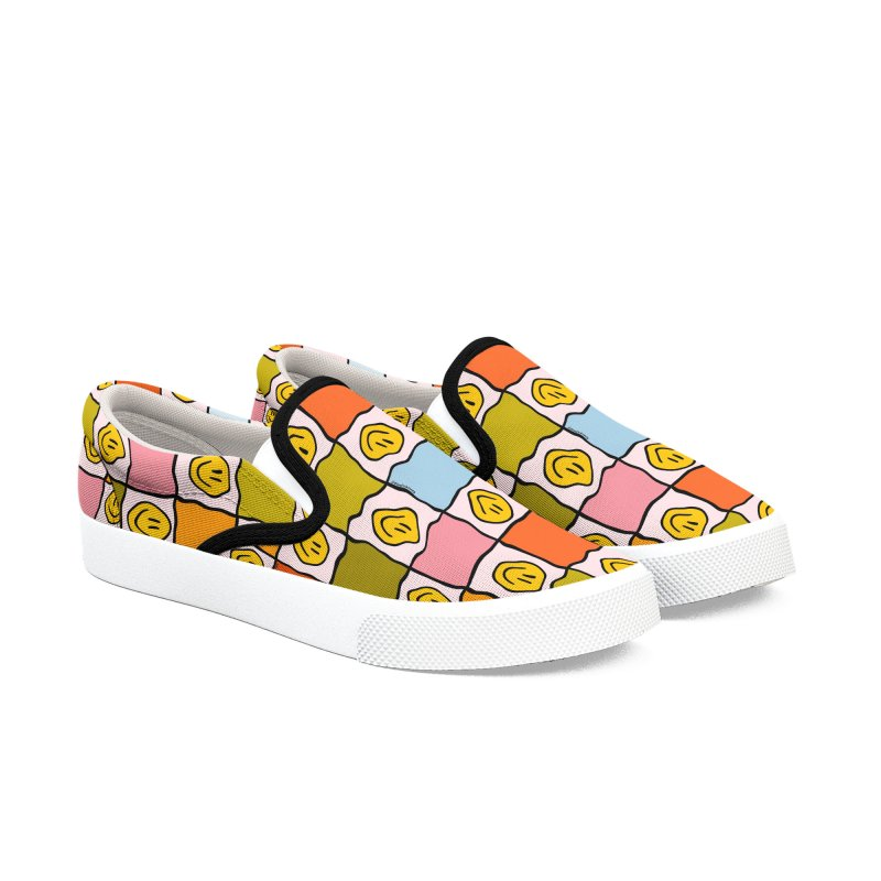 Rainbow Smiley Checkered Print Women's Shoes by doodlebymeg's Artist Shop