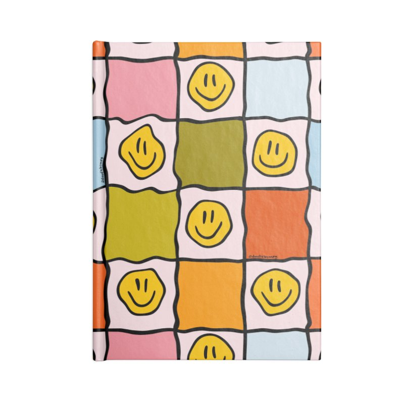 Rainbow Smiley Checkered Print Accessories Notebook by doodlebymeg's Artist Shop