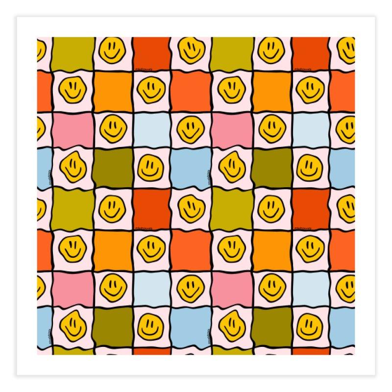 Rainbow Smiley Checkered Print Home Fine Art Print by doodlebymeg's Artist Shop