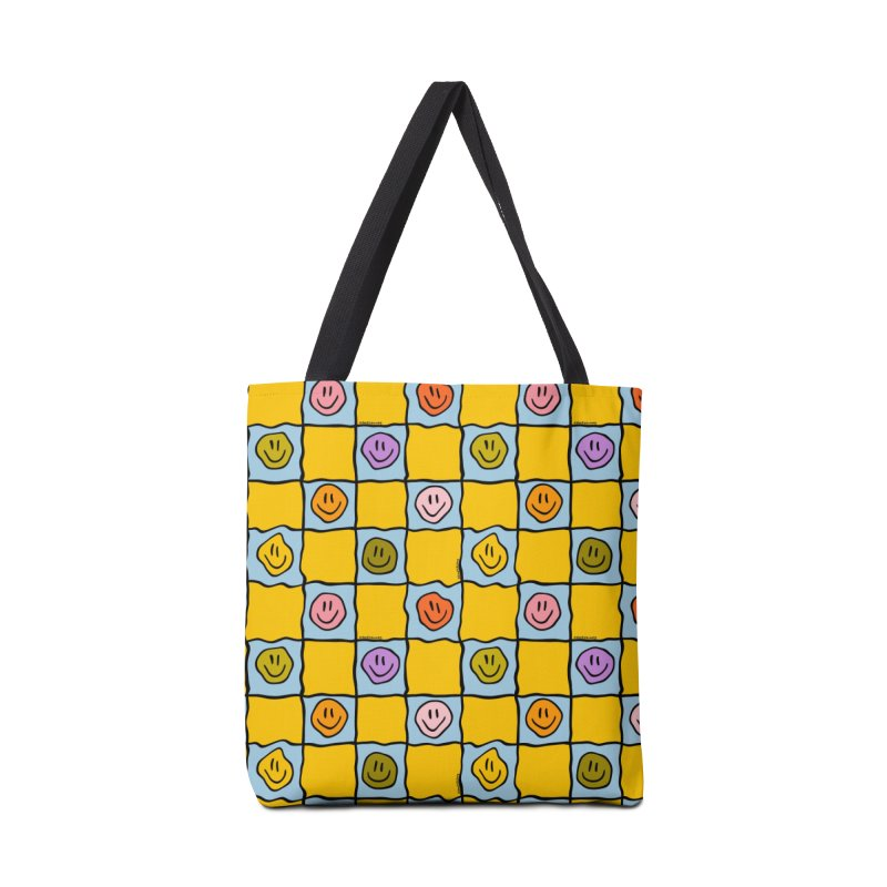 Yellow Smiley Checkered Print Accessories Bag by doodlebymeg's Artist Shop