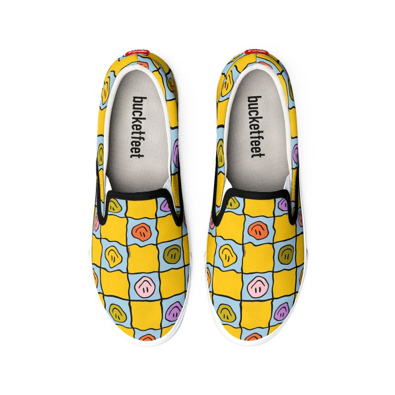 Yellow Smiley Checkered Print Men's Shoes by doodlebymeg's Artist Shop