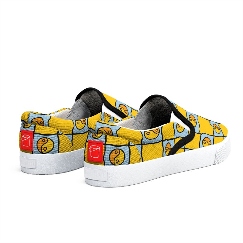 Yellow Ying Yang Checkered Print Men's Shoes by doodlebymeg's Artist Shop