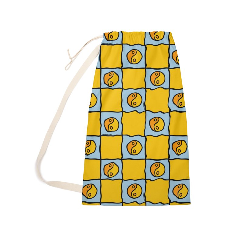 Yellow Ying Yang Checkered Print Accessories Bag by doodlebymeg's Artist Shop