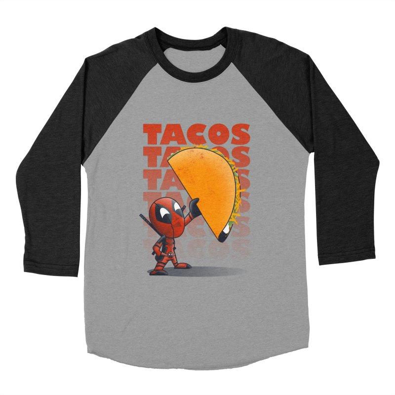 Tacos!!! Women's Baseball Triblend T-Shirt by doodleheaddee's Artist Shop