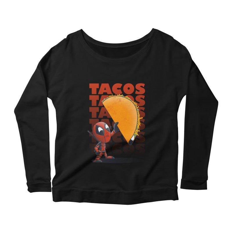 Tacos!!! Women's Longsleeve Scoopneck  by doodleheaddee's Artist Shop