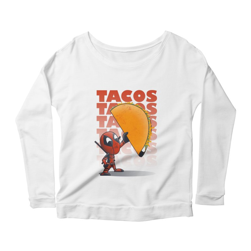 Tacos!!! Women's Scoop Neck Longsleeve T-Shirt by doodleheaddee's Artist Shop