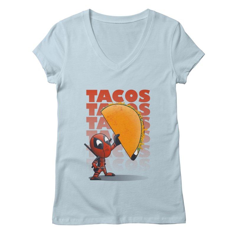 Tacos!!! Women's Regular V-Neck by doodleheaddee's Artist Shop