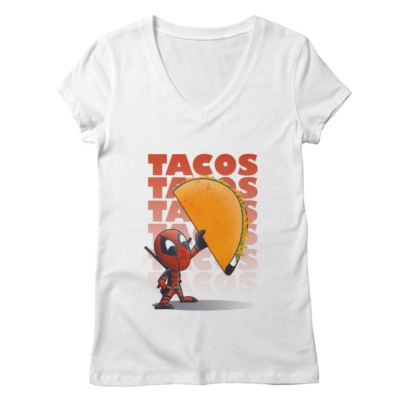 Tacos!!! Women's V-Neck by doodleheaddee's Artist Shop