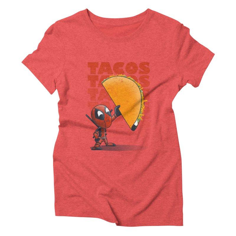 Tacos!!! Women's Triblend T-Shirt by doodleheaddee's Artist Shop