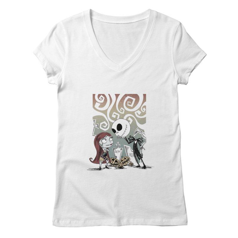 It's a Nightmare Kind of Love Women's V-Neck by doodleheaddee's Artist Shop