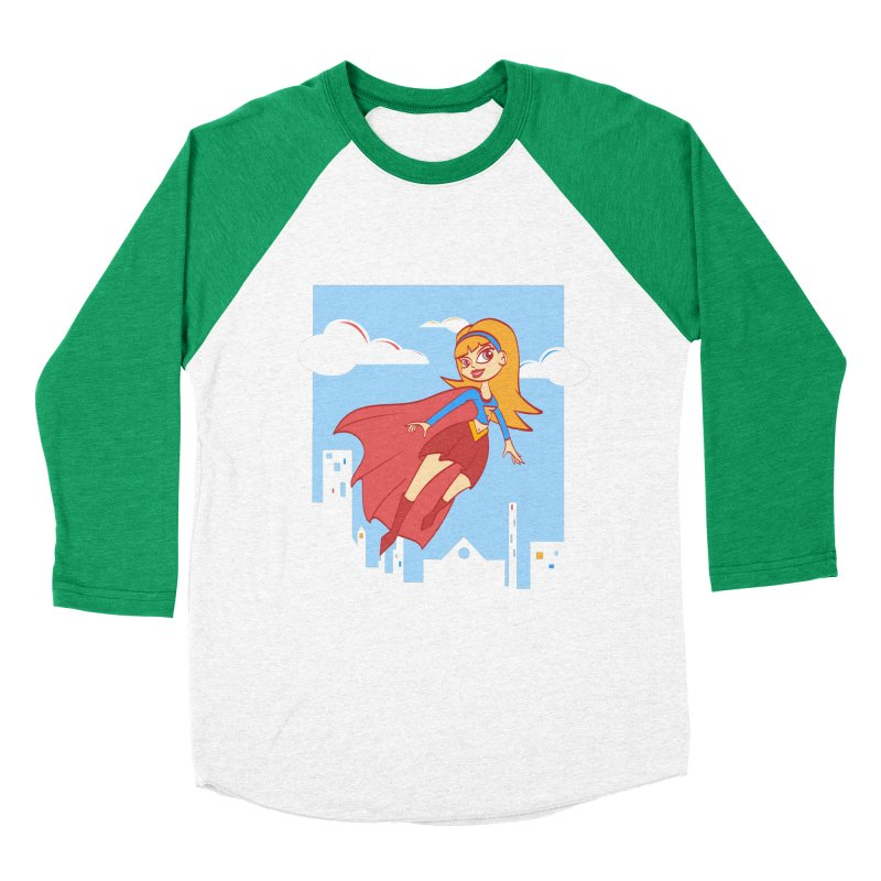 Be a Super Girl Women's Baseball Triblend Longsleeve T-Shirt by doodleheaddee's Artist Shop