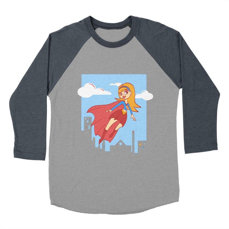 Be a Super Girl Women's Baseball Triblend Longsleeve T-Shirt by doodleheaddee's Artist Shop