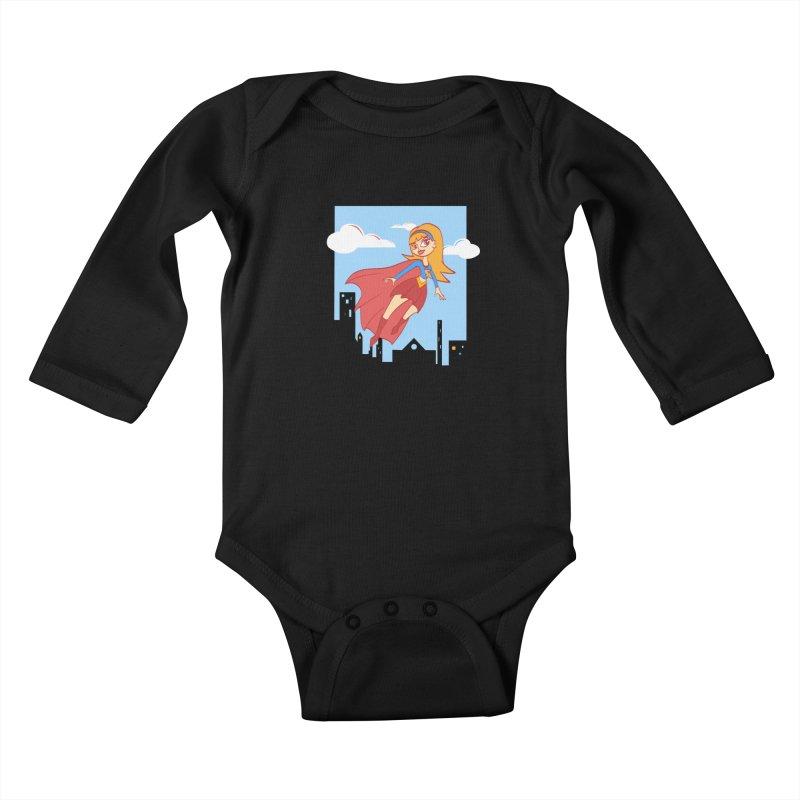 Be a Super Girl Kids Baby Longsleeve Bodysuit by doodleheaddee's Artist Shop