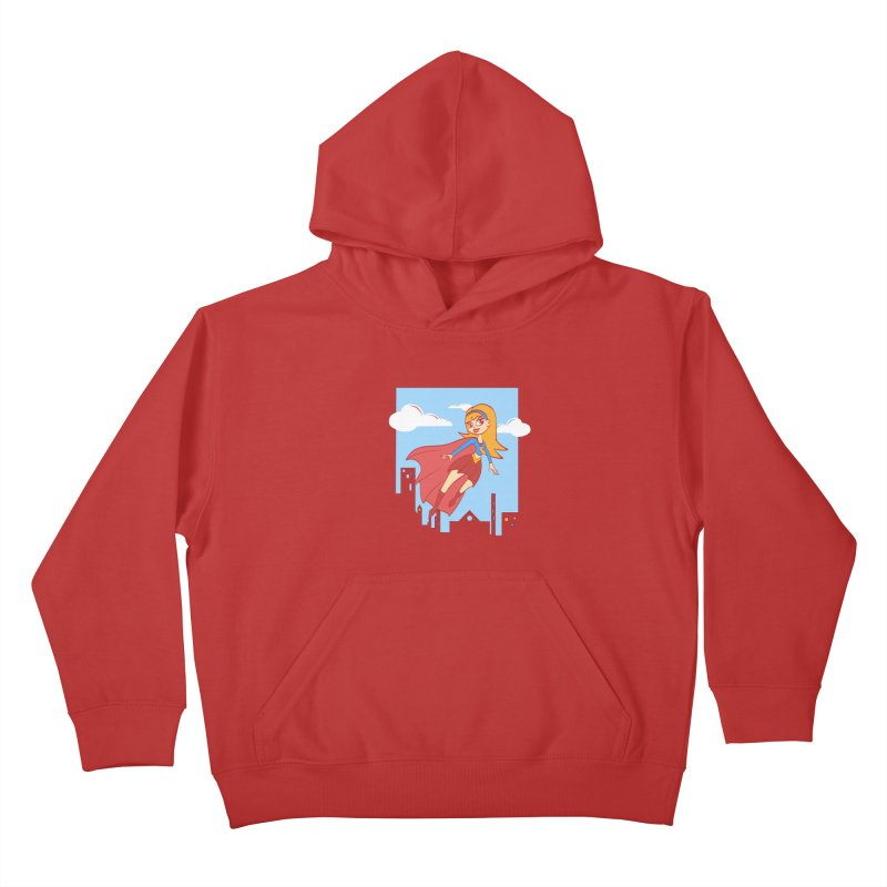 Be a Super Girl Kids Pullover Hoody by doodleheaddee's Artist Shop