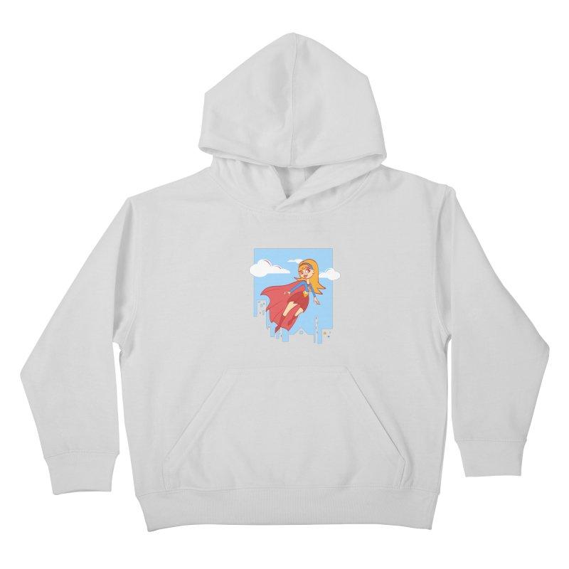 Be a Super Girl Kids Pullover Hoody by doodleheaddee's Artist Shop