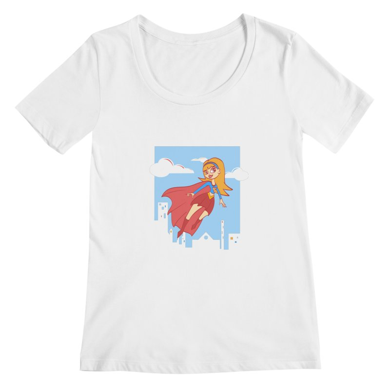 Be a Super Girl Women's Scoopneck by doodleheaddee's Artist Shop