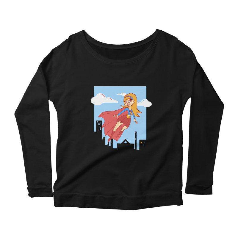 Be a Super Girl Women's Scoop Neck Longsleeve T-Shirt by doodleheaddee's Artist Shop
