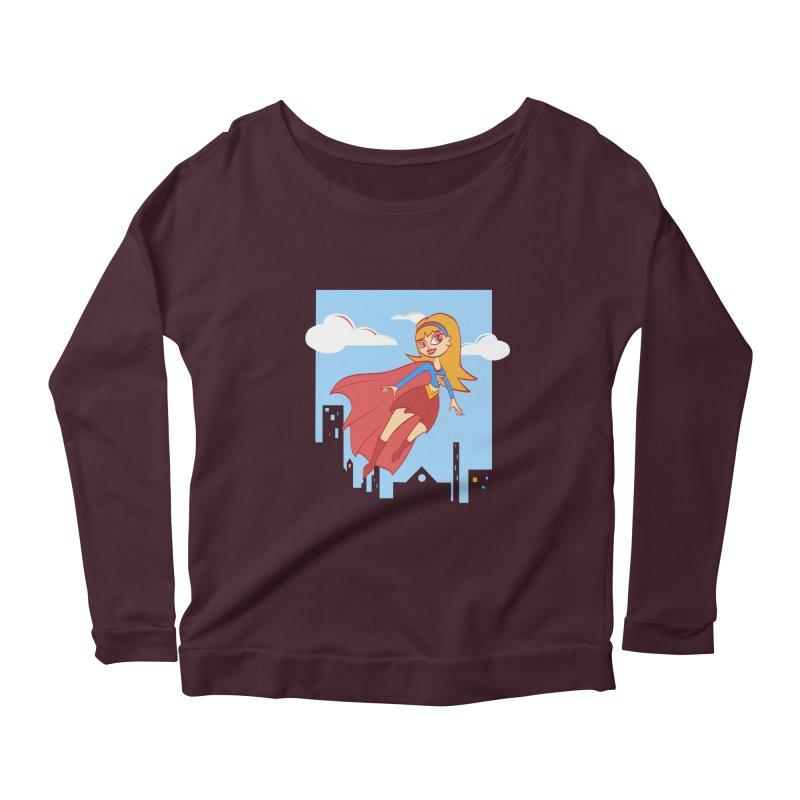 Be a Super Girl Women's Longsleeve Scoopneck  by doodleheaddee's Artist Shop