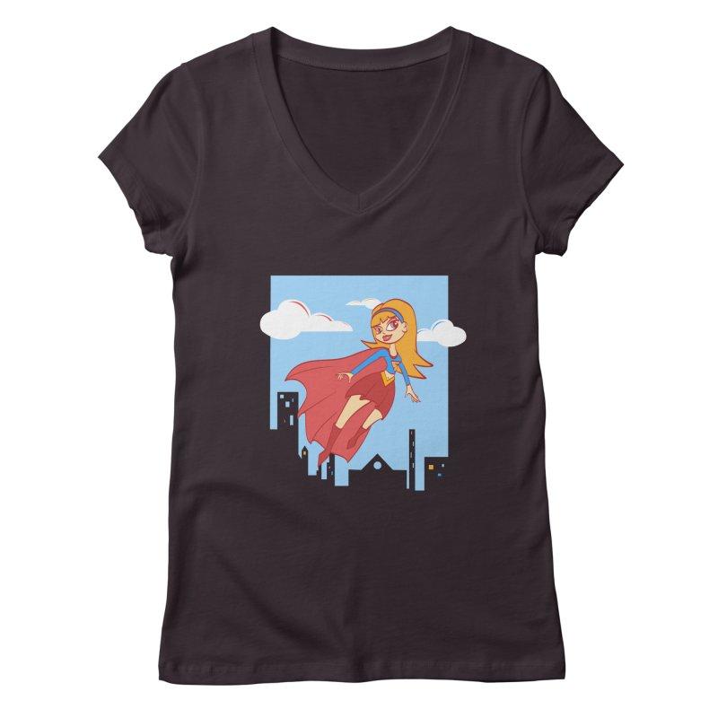 Be a Super Girl Women's V-Neck by doodleheaddee's Artist Shop