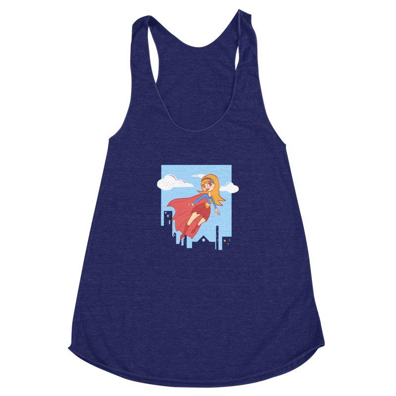Be a Super Girl Women's Racerback Triblend Tank by doodleheaddee's Artist Shop