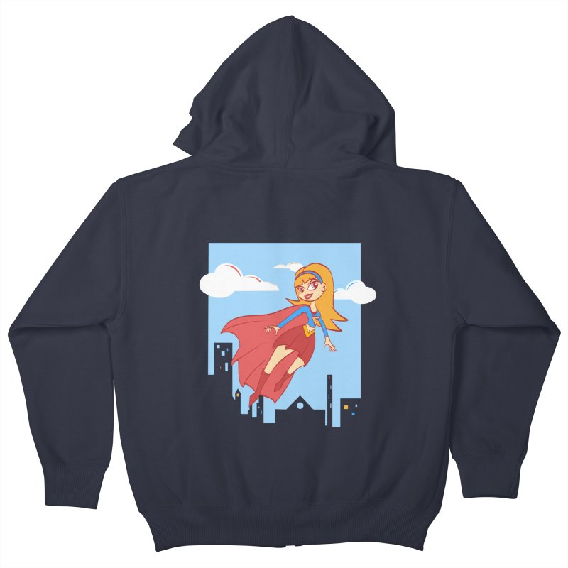Be a Super Girl Kids Zip-Up Hoody by doodleheaddee's Artist Shop