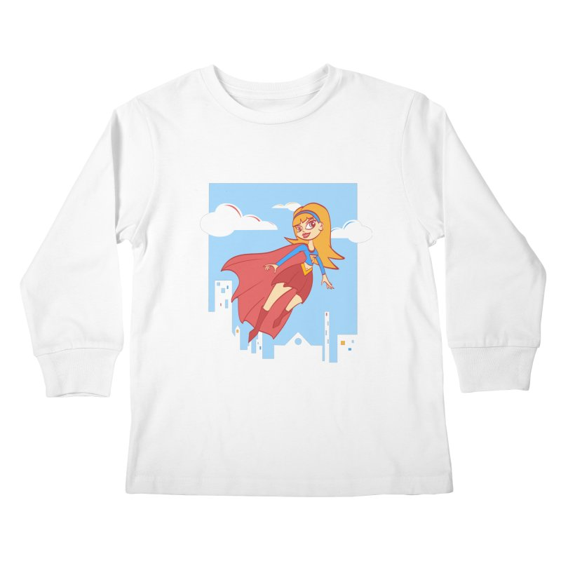 Be a Super Girl Kids Longsleeve T-Shirt by doodleheaddee's Artist Shop