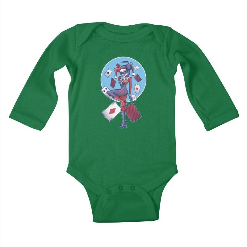 Harleys Card Game Kids Baby Longsleeve Bodysuit by doodleheaddee's Artist Shop