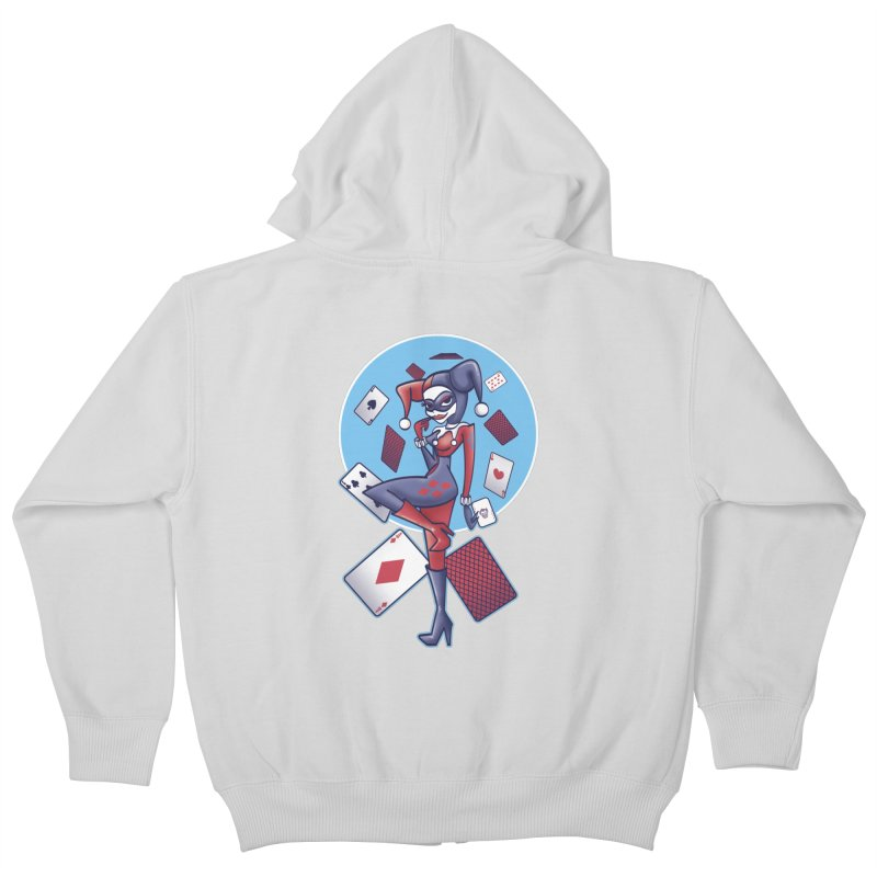 Harleys Card Game Kids Zip-Up Hoody by doodleheaddee's Artist Shop