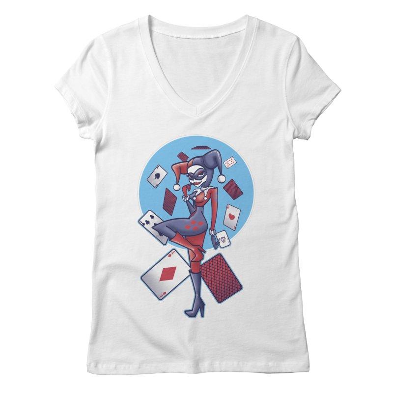 Harleys Card Game Women's V-Neck by doodleheaddee's Artist Shop