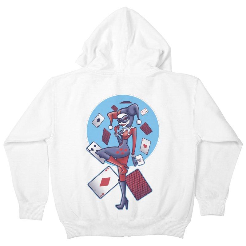 Harleys Card Game Kids Zip-Up Hoody by doodleheaddee's Artist Shop
