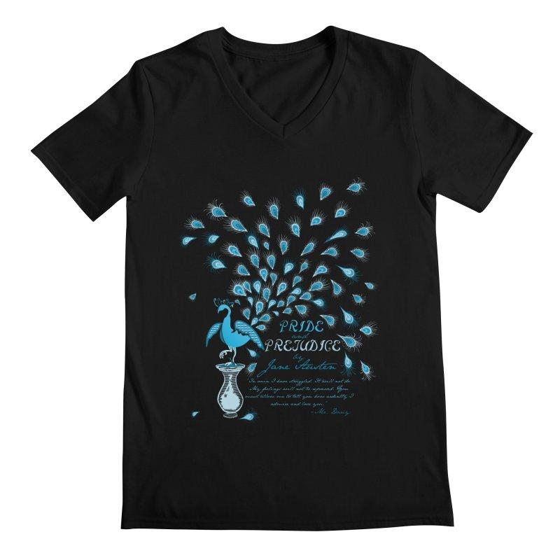 Paisley Peacock Pride and Prejudice Men's V-Neck by doodleheaddee's Artist Shop