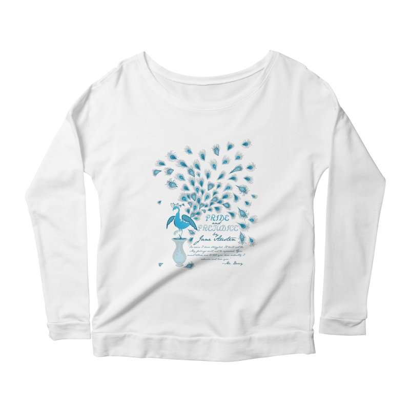 Paisley Peacock Pride and Prejudice Women's Scoop Neck Longsleeve T-Shirt by doodleheaddee's Artist Shop