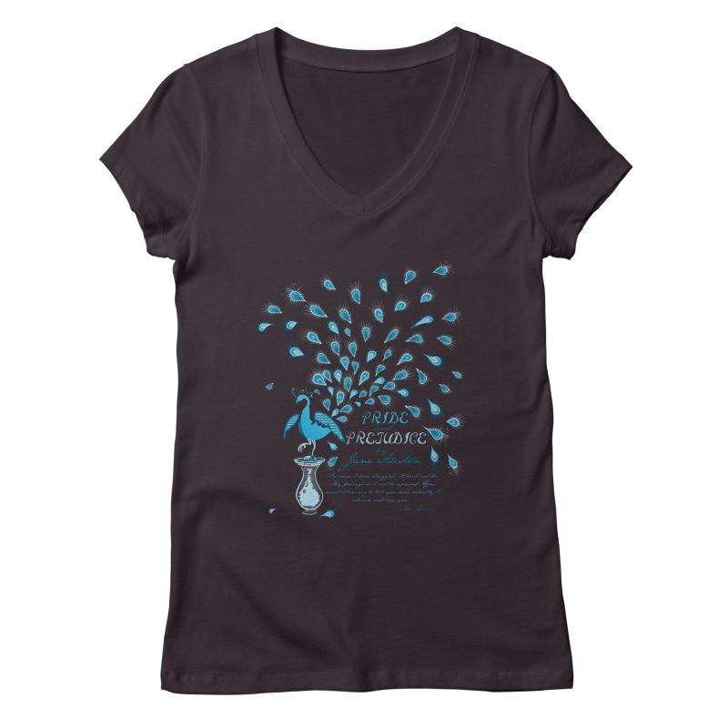 Paisley Peacock Pride and Prejudice Women's V-Neck by doodleheaddee's Artist Shop
